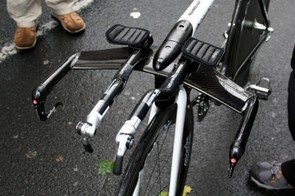 Kirchen's handlebar setup looks pretty standard otherwise and features a pair of PRO extensions…