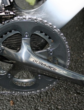 Kirchen's Dura-Ace chainset was fitted with standard 53- and 39-tooth chainrings when we looked at it, but surely had bigger ones the fast course of stage 4.