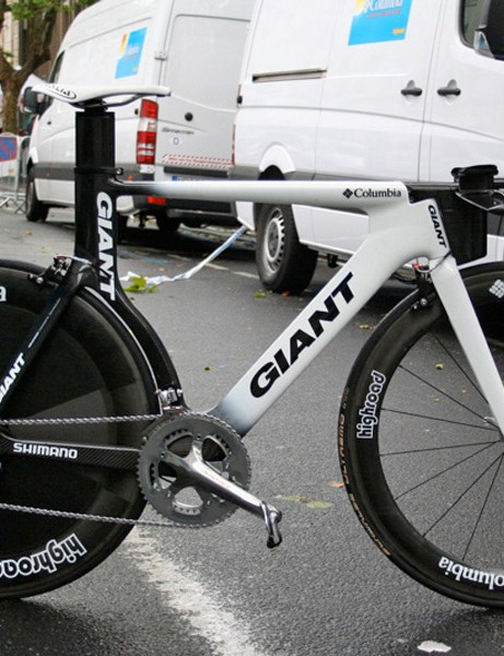 Kim Kirchen's Giant time trial bike is a prototype model that a select number of Columbia riders are using in this year's Tour de France.