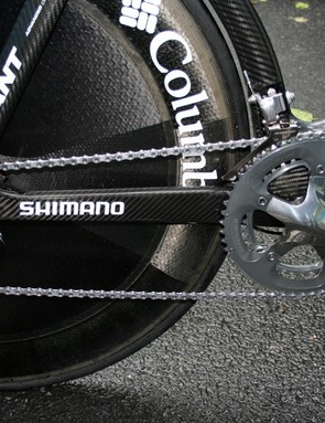 Team Columbia is sponsored by Shimano and Kirchen's time trial bike uses a 7800 series Dura-Ace drivetrain.