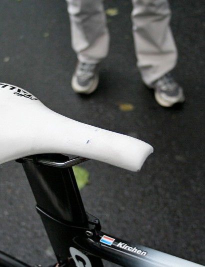 As is almost obligatory in the peloton Kirchen's time trial saddle's nose has been chopped off to meet UCI regulations regarding its position in relation to the bottom bracket.