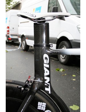 The slender top tube intersects with the huge aero section seat tube in a smooth joint.