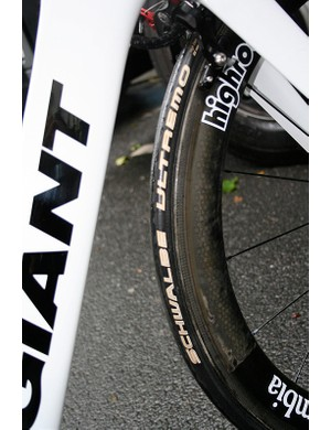22mm-wide Schwalbe Ultremo tubulars are a totally slick option for fast rolling.