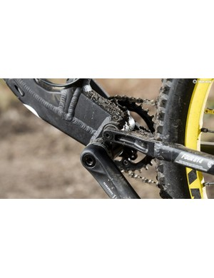 The cockpit comprises a wide Kore bar and stubby stem Ð but the reach is so short we'd be tempted to fit a longer one