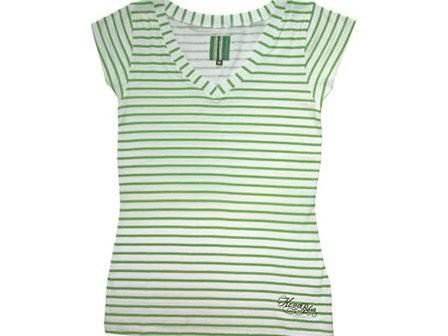 Kona Ladies V-Neck Striped T-Shirt