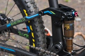 There's a trunnion mount, metric sized Fox Float DPS shock to control the 140mm of rear wheel travel