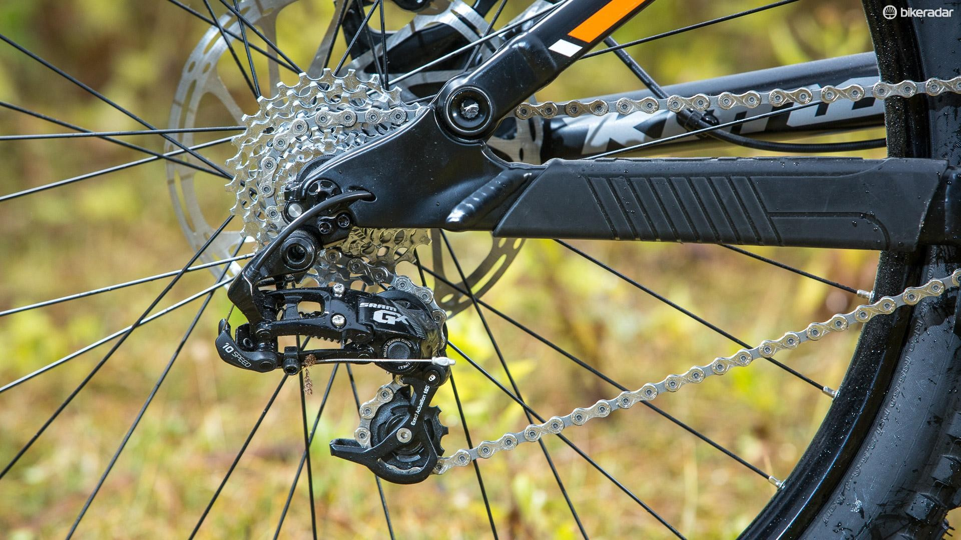 A SRAM GX 10spd set up provides the transmission