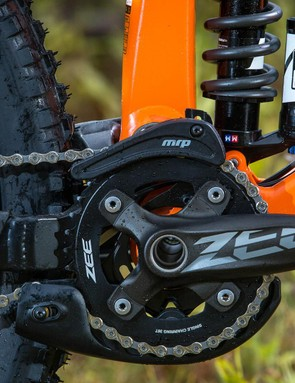 A Shimano Zee chainset and MRP G3 Steel guide keep things in hand up front