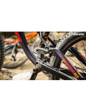 Kona's linkage-driven single pivot suspension is a well-proven design and tracks the ground superbly