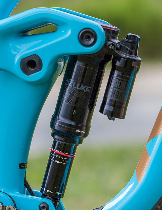 A carbon rocker link actuates the trunnion mounted Rock Shox shock. In the interests of durability, large bearings are used in both main pivots and there are no threads in any carbon pieces