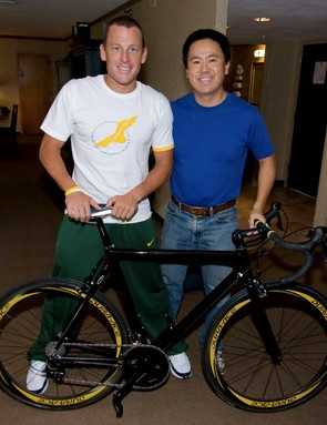 Lance and Kozo Shimano, with the special black DuraAce gruppo.