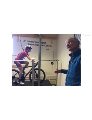 Dr Kram and a CU PhD student demonstrating the Locomotion Lab's treadmill used to test Specialized Power prototype power meters