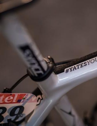 #YatesYouCan adorns the top tube