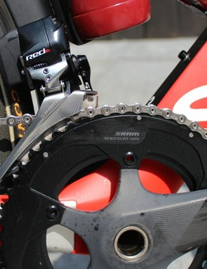 As his third bike, this Aeroad lacks the Quarq power meter of his primary race bike. Also, it has standard SRAM rings unlike the blacked-out rings on his race bike