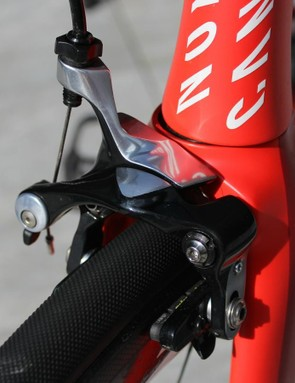 Shimano Dura-Ace direct-mount calipers are used for a simple reason: SRAM doesn't yet this style of brake that the frame requires