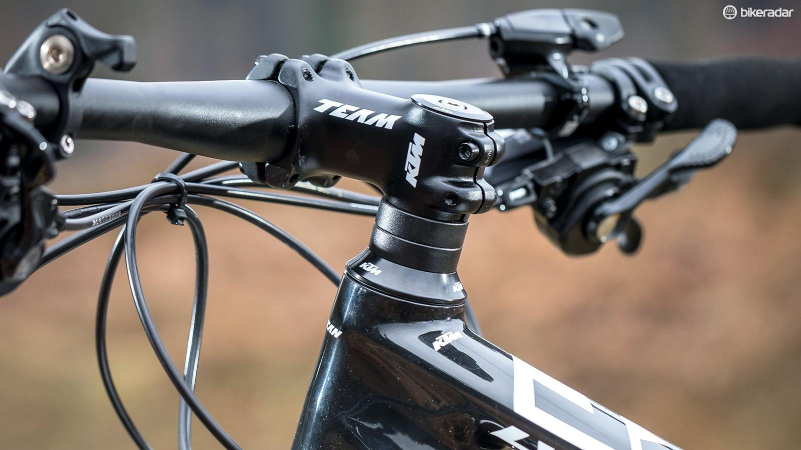 A look at the bike's 68.5-degree head angle