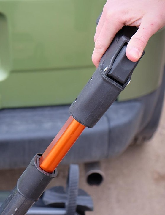 The arms have soft, co-molded plastic on the wheel hooks to prevent them from maring forks