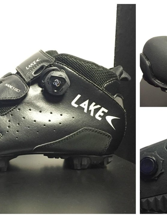 These rather fine-looking leather mountain bike boots from Lake are designed for enduro use. They come with a reinforced toe area, Boa lace system and 'Ice-lock' grip system on the sole. Those little squares are designed to move and help grip on slippery surfaces