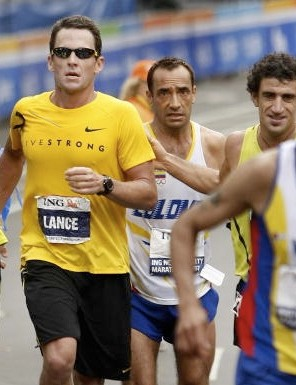 File photo of Armstrong finishing the New York city marathon in November 2007.