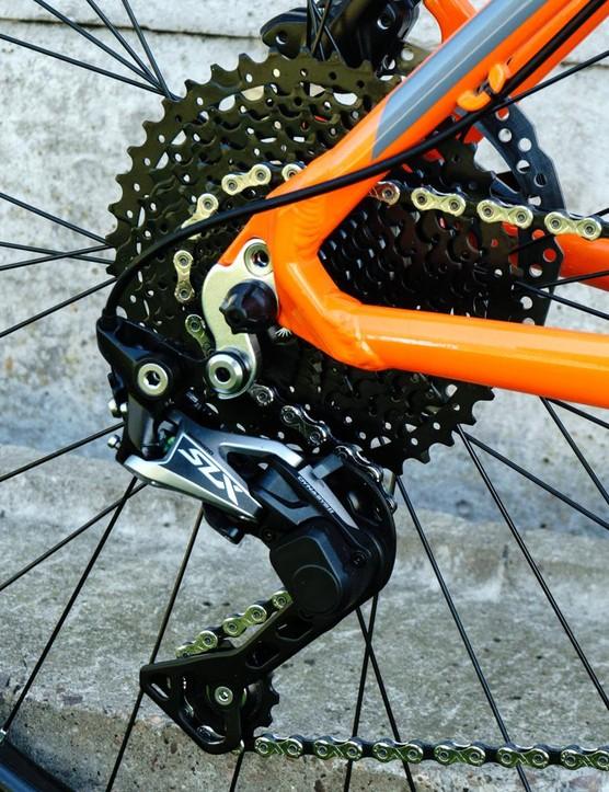 The bike is built around an SLX drivetrain