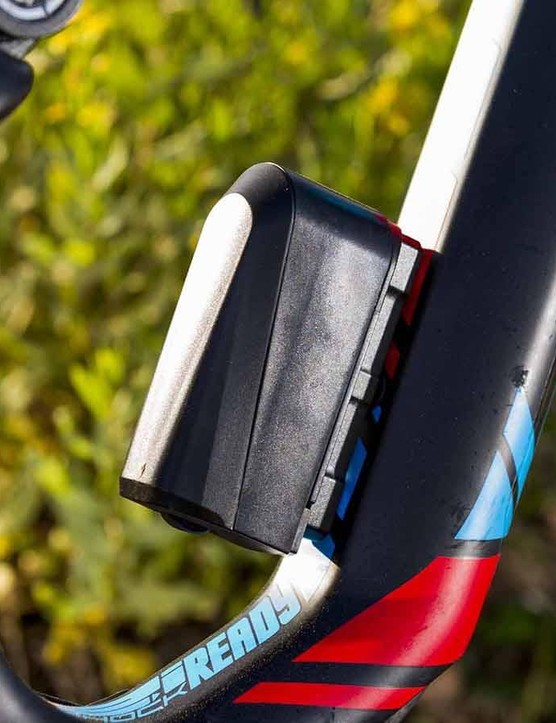 The E:I system is powered by a battery mounted where a bottle cage would usually be