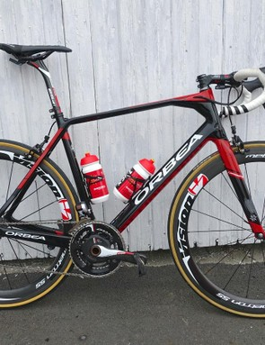 Cofidis riders all have a new paint job on their Orbea Orcas to promote Orbea's MyO custom program