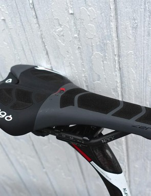 Prologo CPC saddles have tiny polymer cylinders that the company says enhances grip and comfort while reducing vibration