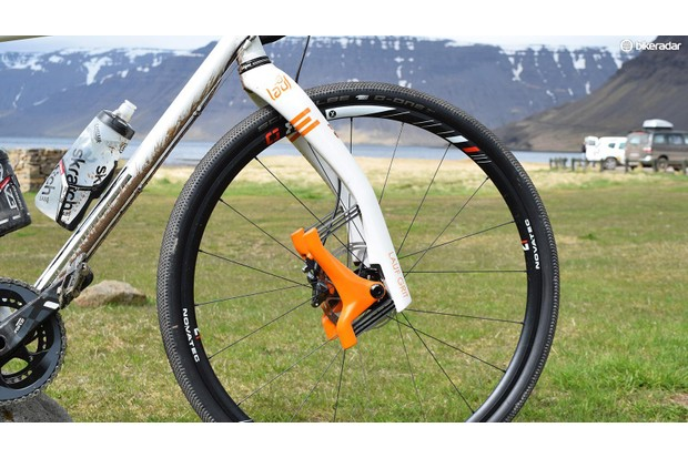A growing number of gravel bikes feature suspension systems, such as this Lauf Grit suspension fork