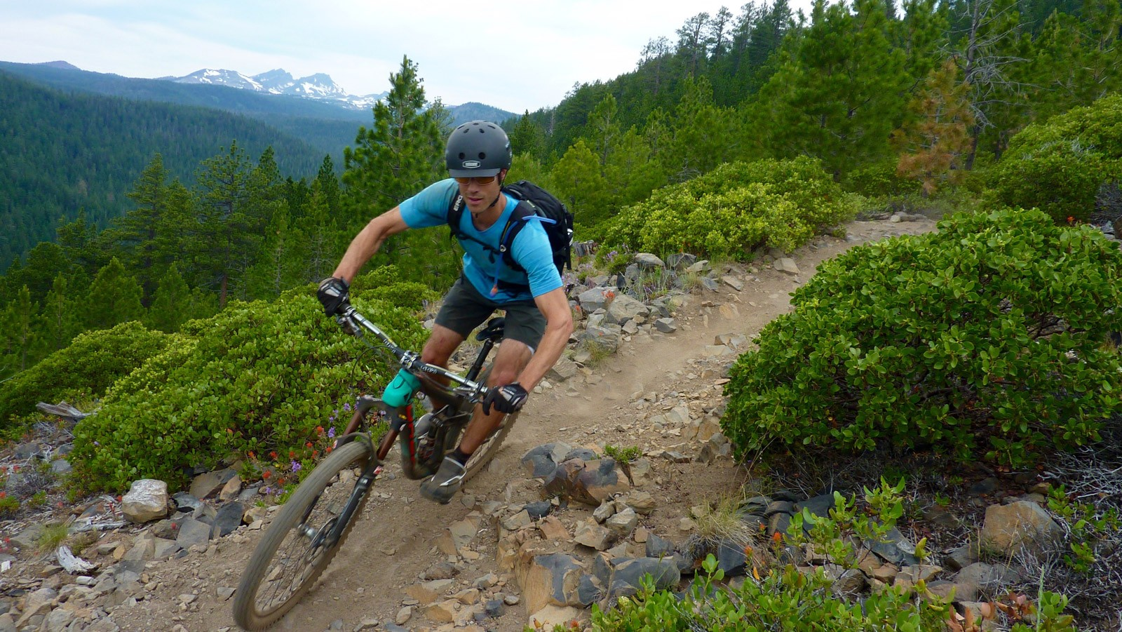 His skills and knowledge extend far beyond just trials riding, he's a charger on singletrack