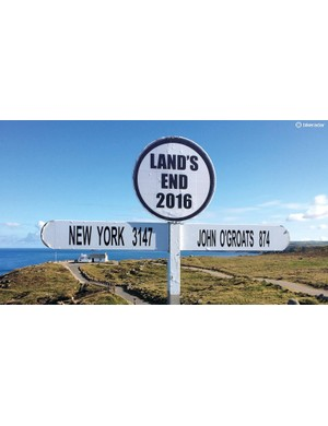 The landmark's famous sign underestimates the miles we covered