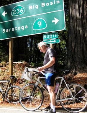 LeMond loves to ride, and came prepared with a local map.