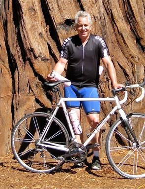 Greg LeMond, posing in front of a centuries old Redwood in Big Basin Park outside Santa Cruz, CA.