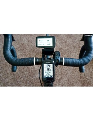 Once the computer and sensors are active and the ride has begun, the measurement parameters occupy more of the screen for better viewing