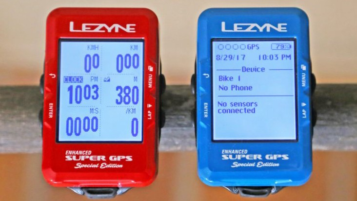 Two new colors and a new interface that shows five data fields differentiate Lezyne's Special Edition Super GPS
