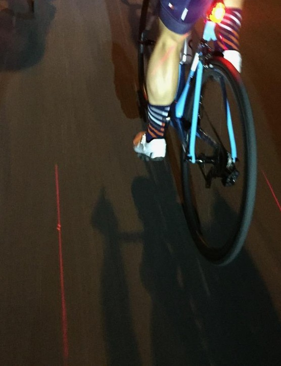 Even with 600- and 800-lumen headlights shining right behind, the laser lines are easy to see