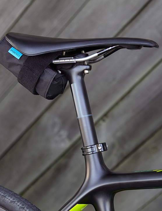 Simple Velcro strap mounting through the saddle rails