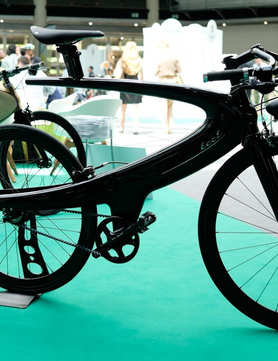 Belgian brand Ecce Cycle had its futuristic Opus bike on display, with this carbon version developed in collaboration with Ridley