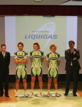 Team Liquigas staff and top riders in Bibione.
