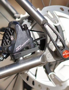 The Ultegra discs are lighter in color than their Dura-Ace siblings, but I don't think I can tell a difference in the stopping power