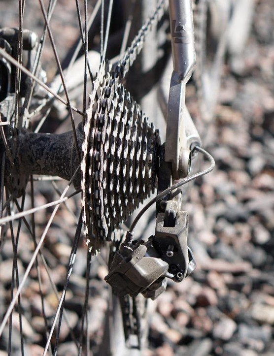 The Ultegra Di2 derailleur tucks neatly under the cassette