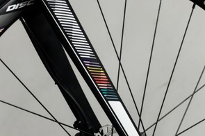 The subtle coloured decals are repeated on the forks