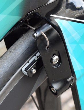 Brakes are tucked behind the forks to decrease aerodynamic drag