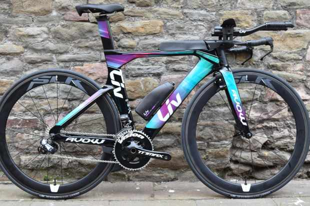 The rather eye-catching Liv Avow Advanced Pro 1 women's specific triathlon bike