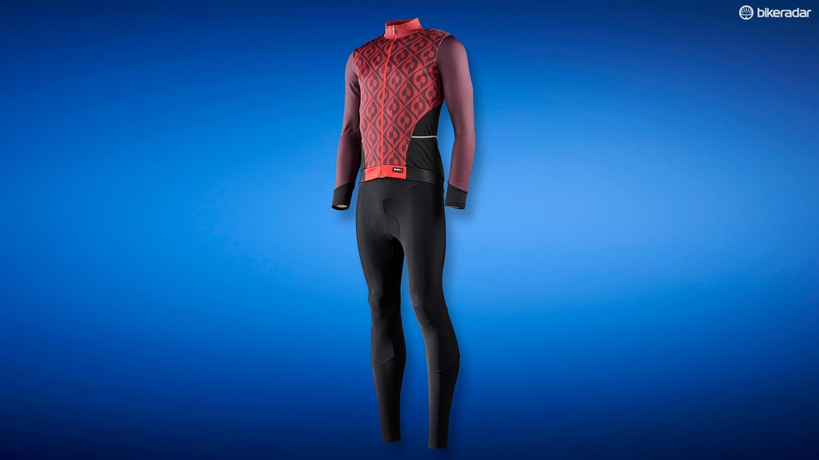Both the jersey and bib tights are constructed from fleece-backed Lycra