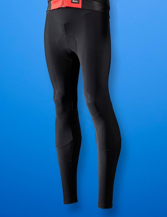 The peacock-inspired pattern is repeated on the mesh upper of the bib tights