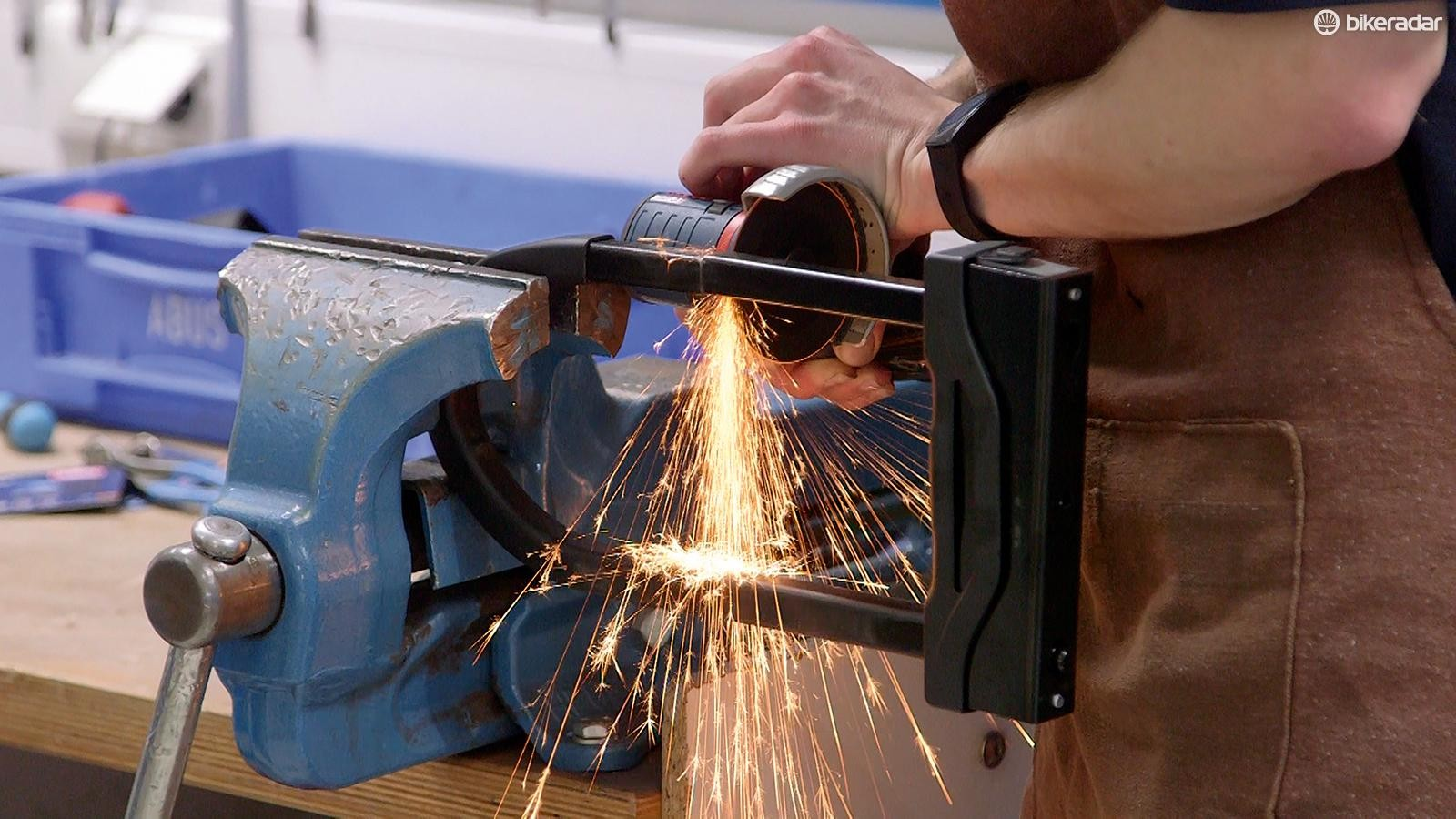 Sparks flew as the angle grinder was introduced