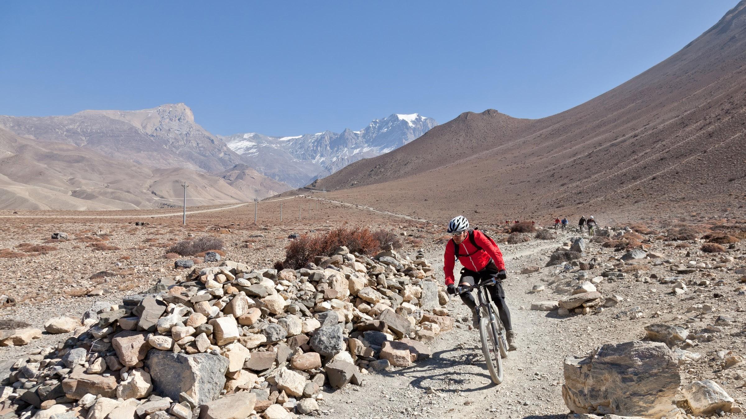 Descending Muktinath Valley on the Annapurna Circuit, Nepal