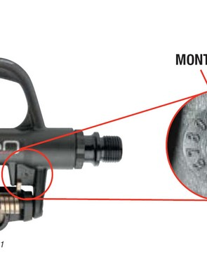Most KEO pedal undersides are stamped with a month/year manufacture date code.