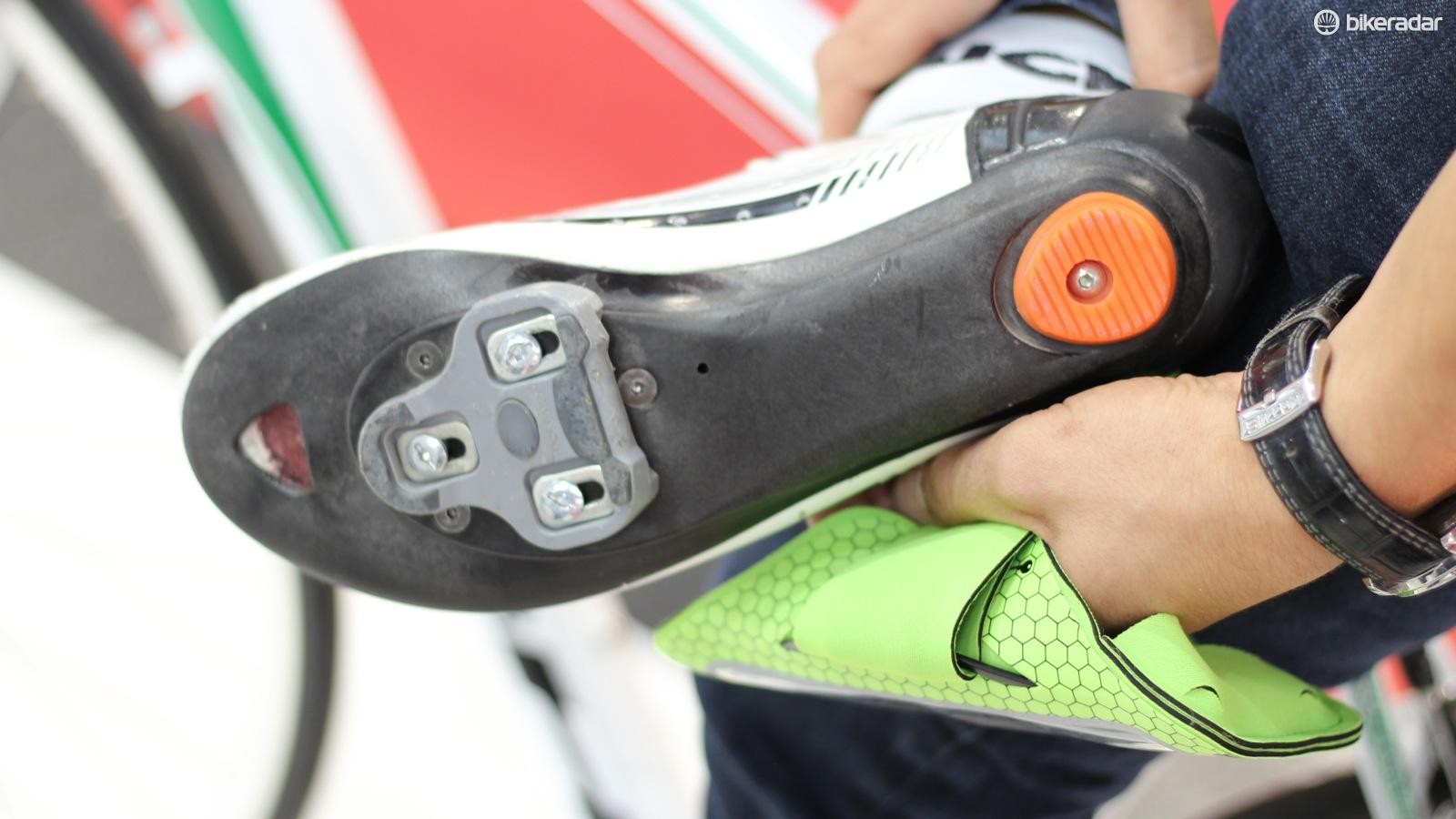 The power-meter sole can be used on any high-end Luck shoe, on one or both shoes
