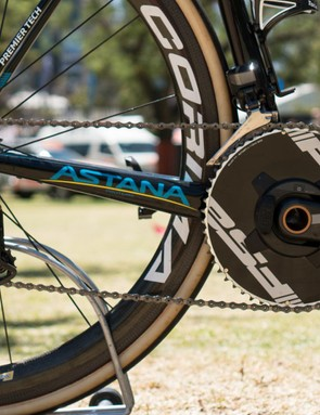 Sanchez runs a 54-tooth outer chain ring on his Shimano Dura-Ace R9150/FSA hybrid drivetrain